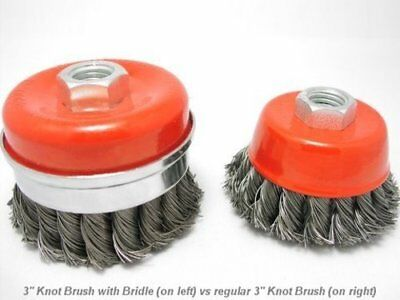 """2x 4"""" Bridle Knot Cup Brush 5/8-11nc angle grinder wire 2"""