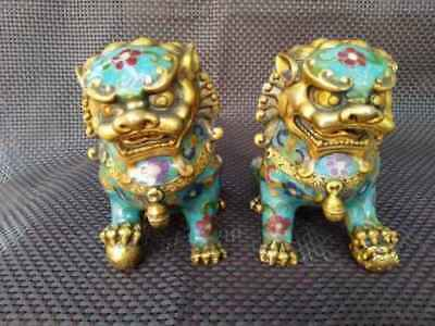 A Pair Chinese Cloisonne Copper Statue - Lion Foo Dog 2