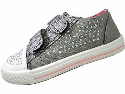 Girls Canvas Glitter Pump Chatterbox Trainers Summer Shoes touch close strap SZ 2