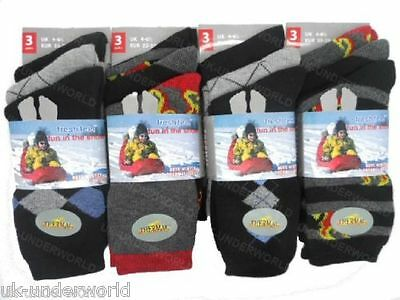 3 Pairs Childrens Boys Thermal Thick Boot Socks Teens Kids Winter Warm 4