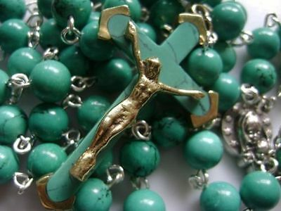 Turquoise BEADS & Turquoise CROSS Crucifix 5 DECADE ROSARY Catholic NECKLACE 6