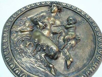 Antique mother and child faun bronze ormolu plate Clodion ? plaque