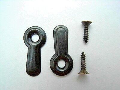 Picture Frame Turn Buttons 16mm Embossed Bronzed With Screws Holding Clips 5