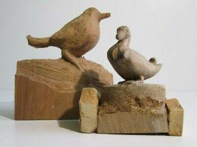 Par de Esculturas Madera Proyectos Carpintero Dime Pajarito Pato 6