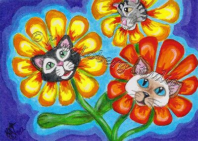 Feline Cat crazy Kitty retro Pet Daisy aceo EBSQ Loberg Mini Art fantasy Flower 3