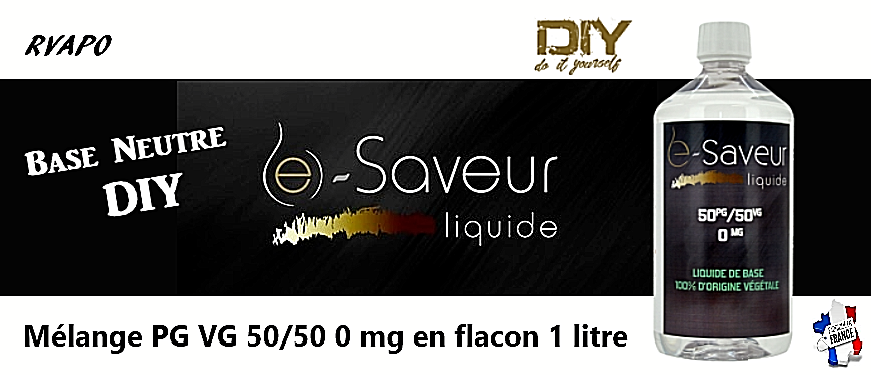 Base neutre DIY E-Saveur 1 LITRE  E-LIQUIDE 50/50  option booster nicotine N+ 2