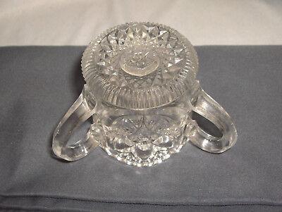 Vintage Antique U.S. Glass Toothpick Match Holder Buckingham 3-Handled NICE 3