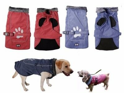 SMALL to EXTRA LARGE Dog Pet Waterproof Winter Rain Coat Warm Jacket Clothes 6