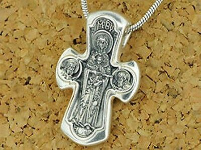 Cross Orthodox Jesus Christ & Virgin Mary # a130 Sterling Silver 925 5