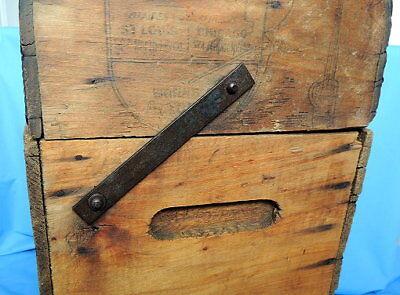 Primitive Antique Higham Rocker Lid Wood Box W/Antique Glass Bottle 6