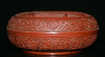 """9.6"""" Marked Old China Red Lacquerware Dynasty Hill River House jewelry Box 2"""