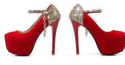 1 di 2 Décollte scarpe decolte donna eleganti comode rosso 13 cm plateau 5  cm 8360 9e901b60c17