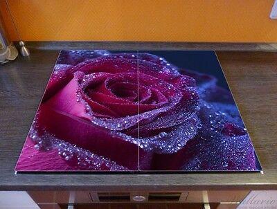 Rote Rose Single Rose rot Wallario Herdabdeckplatte 2-teilig aus Glas 60x52cm