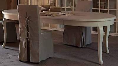 TAVOLO FRANCESE PROVENZALE ALLUNGABILE BIANCO CREMA OVALE 110x160 ...