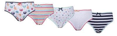 Girls 5 Pack Pairs Briefs Set Knickers Kids Multipack 100% Cotton Underwear Size 3