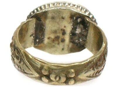 "Antique 18thC Russian Crimean Tatars Ornate Silver Ring Ruby Red Glass ""Gem"" Sz8 4"