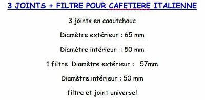 FILTRE CAFETIERE ITALIENNE 3 TASSES DIMENSIONS DANS LE DESCRIPTIF 3 JOINTS