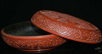 """9.6"""" Marked Old China Red Lacquerware Dynasty Hill River House jewelry Box 8"""