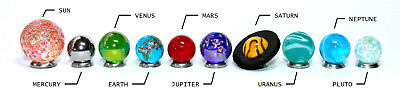 Mini Solar System Marble Set - 14-22mm Orrery Globe Planet Glass Marbles -Earth 2