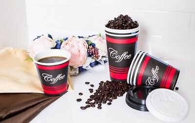 100 Pack 16 Oz. Poly Paper Disposable Hot Tea Coffee Cups with Dome Black Lids 7
