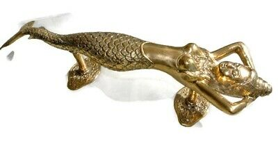 "medium MERMAID brass door PULL old style heavy house PULL handle 13"" polished B 8"