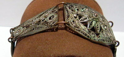 ANTIQUE 1800s.COPPER  BRACELET in 5 PARTS,AMAZING FILIGREE W/ SILVERED # 37 2