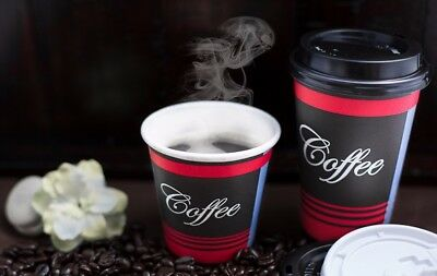 100 Pack 16 Oz. Poly Paper Disposable Hot Tea Coffee Cups with Dome Black Lids 3