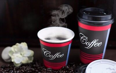 50 Pack 10 Oz. Poly Paper Disposable Hot Tea Coffee Cups with Dome Black Lids 3