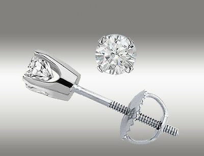 .20 Ct Solitaire Stud Earrings Round Cut 14K White Gold Screw Back pierced Deal 6