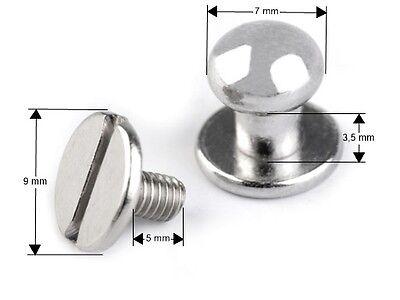 Vernickelt Buchschrauben Nieten für Leder Schraubnieten Gürtelnieten