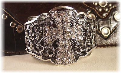 New  Rhinestone Cross Cuff Jewelry  Bracelet Western/Cowgirl/Rodeo BLING