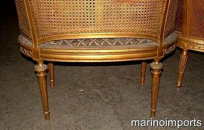 19th C. French Louis XVI Cane Corbeille Settee Chair~ 8