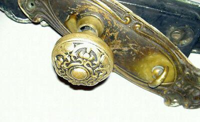 Impressive Complete Antique Victorian Large Brass & Cast Iron Door Set Lot #71 6