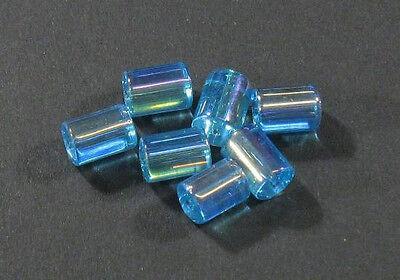 22 PERLEN GLAS ZYLINDER KRISTALL GLASPERLEN WEIS 14mm CRYSTAL BEADS R320