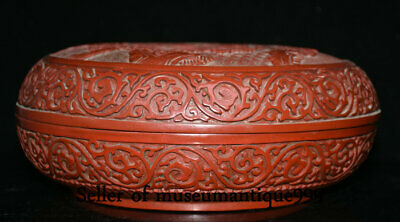 """9.6"""" Marked Old China Red Lacquerware Dynasty Hill River House jewelry Box 3"""