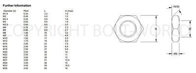 M10 / 10mm A4 MARINE GRADE STAINLESS STEEL HEX THIN HALF LOCK NUTS DIN439 NUT BW 2