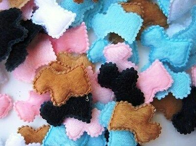 40 Padded Denim Scottie Dog Fabric Applique//bow//trim//puppy//Trim//Sewing//Blue H369