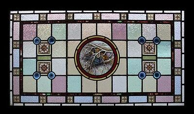 Stunning Rare Painted Birds Adorned With Rondels Antique Stained Glass Window 2
