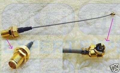 USA 40cm 2X U.FL Mini PCI to RP-SMA Pigtail Antenna WiFi Cable 16 Inches