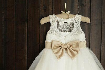Lace Rosette Keyhole Flower Girl Dress/Communion/Baptism/Junior Bridesmaid Dress 3