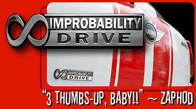 """The Hitchhiker's Guide to the Galaxy """"Infinite Improbability Drive"""" Car Emblem 2"""