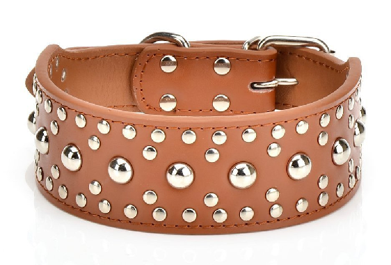 Studded Rivet Spiked Metal Dog PU Faux Leather Collar Pitbull Mastiff BLACK RED 5