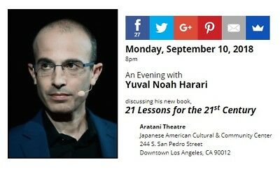 SIGNED 21 Lessons for the 21st Century by Yuval Noah Harari, autographed, new 10