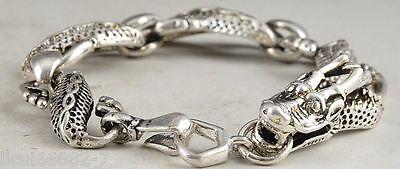 China  Old national style Tibet Silver Carve Pair dragon head Adjust Bracelet