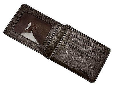 Brand New Tag Tags Hurley Mens Boys Pvc Pu Wallet Bi Fold Solid Entry Brown Bnwt 2