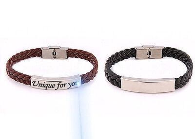 ID Leder Armband mit Edelstahlplatte inkl. Gravur nach Wunsch Schwarz,Braun,Lila