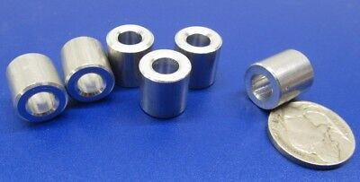 "Aluminum Spacer 6 pcs 1//2/"" OD x .252/"" ID x 1//2/"" Length NO.1//4/"" Screw"