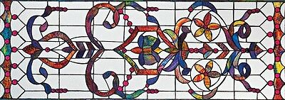 4 Foot European Antique Style Manor Estate Stained Glass Window Panel Authentic 4
