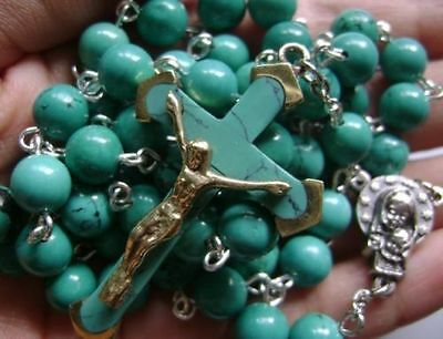 Turquoise BEADS & Turquoise CROSS Crucifix 5 DECADE ROSARY Catholic NECKLACE 10