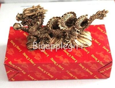 NEW GOLDEN Chinese Feng Shui Dragon Figurine Statue for Luck & Success #Large 4